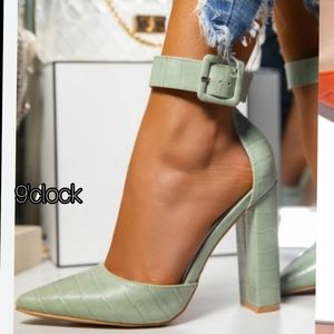 Just In Mint Green Ankle Strap Heels Pointy Toe